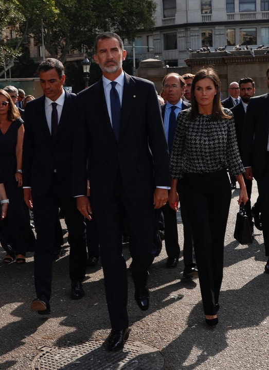 King Felipe and Queen Letizia of Spain commemorate the 1st anniversary of the terrorist attacks in Barcelona and Cambrils.