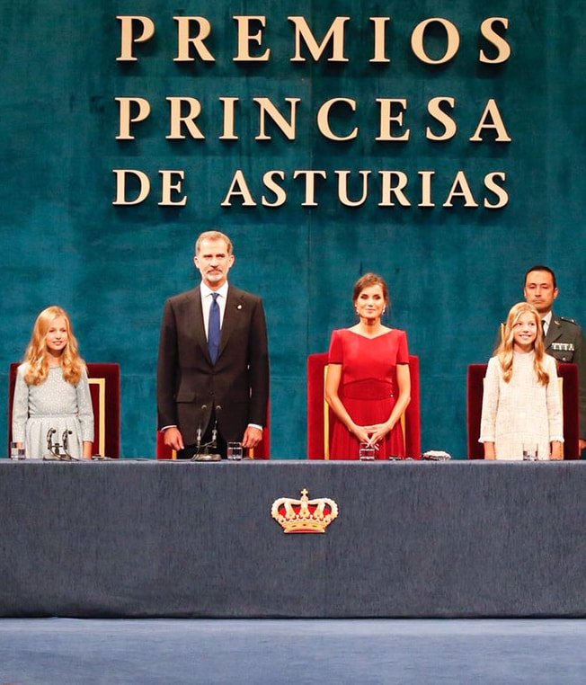 The King and Queen of Spain accompanied by their daughters Leonor, Princess of Asturias and Infanta Sofia, presided over the 2019 Princess of Asturias Awards held at the Campoamor Theater in Oviedo