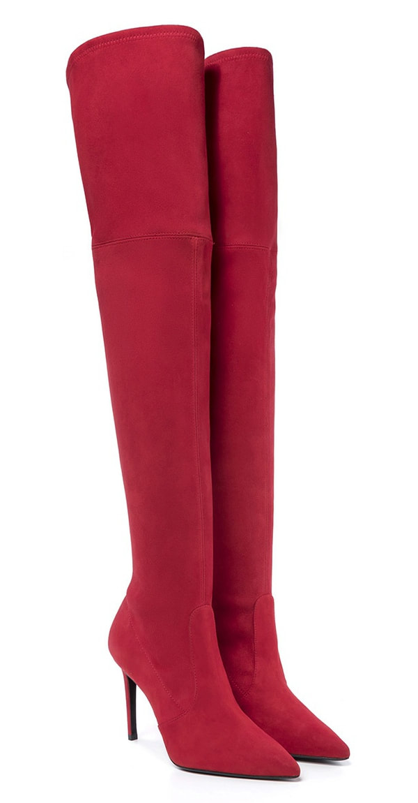 Magrit Francesca red suede over the knee boots