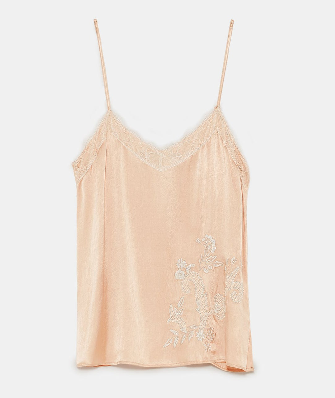 Zara nude pink embroidered camisole top