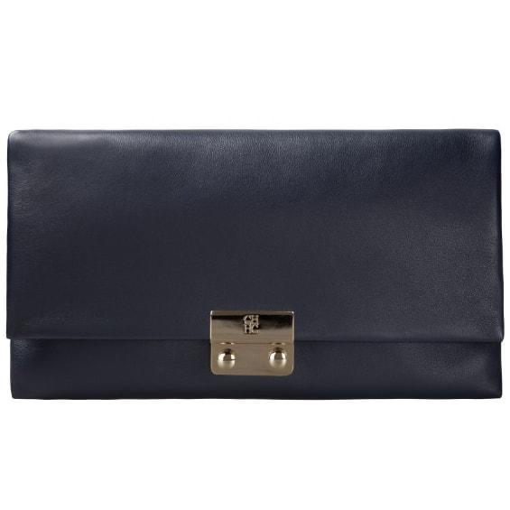Carolina Herrera 'Baret' navy leather clutch bag