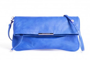 Adolfo Dominguez blue foldover clutch