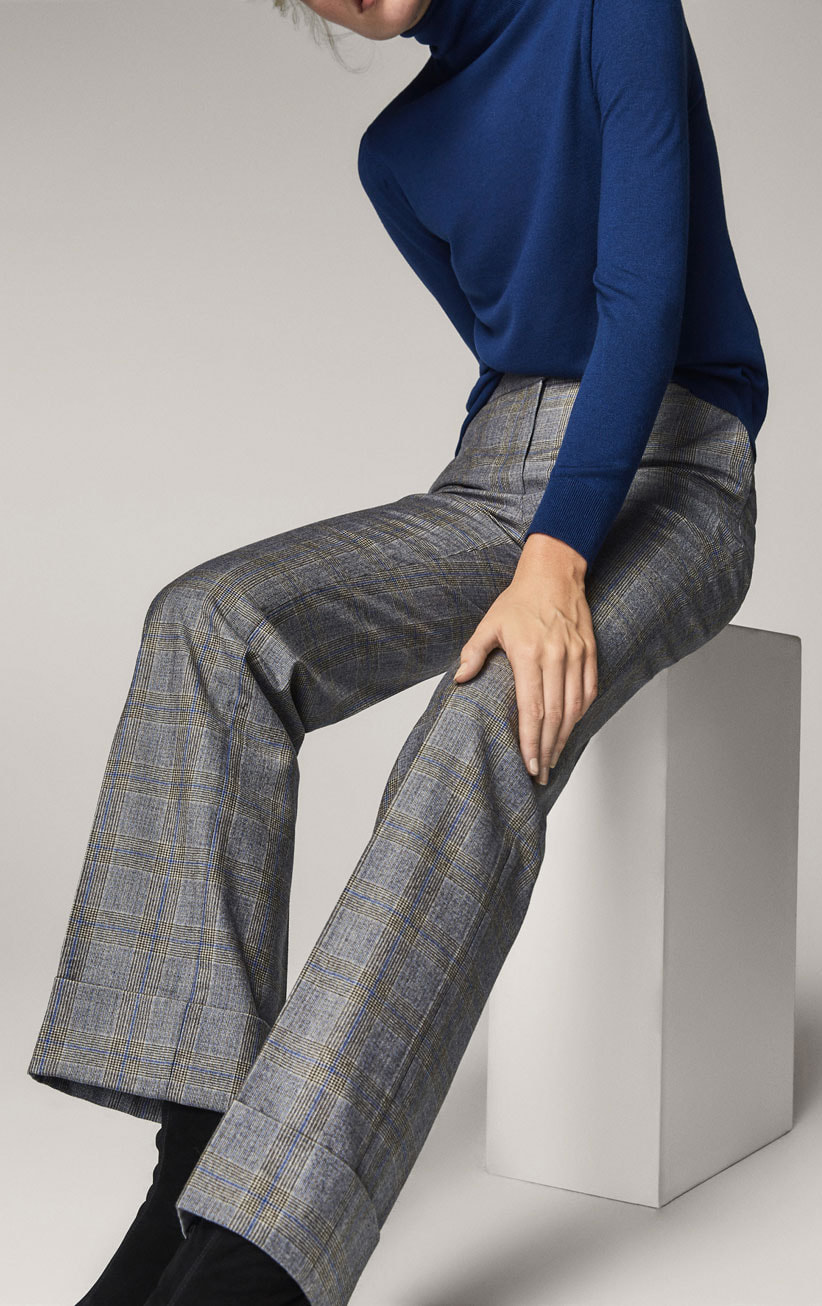 Massimo Dutti Checked Wide-Leg Trousers