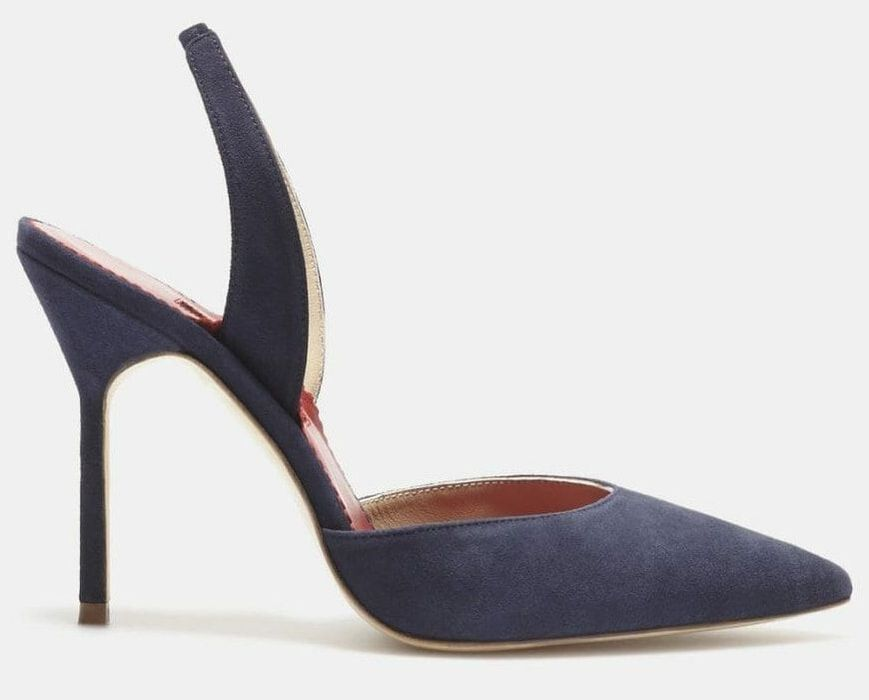 Carolina Herrera navy suede slingback pumps