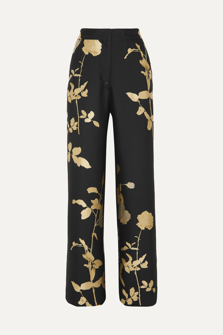 Dries Van Noten black and gold floral jacquard trousers