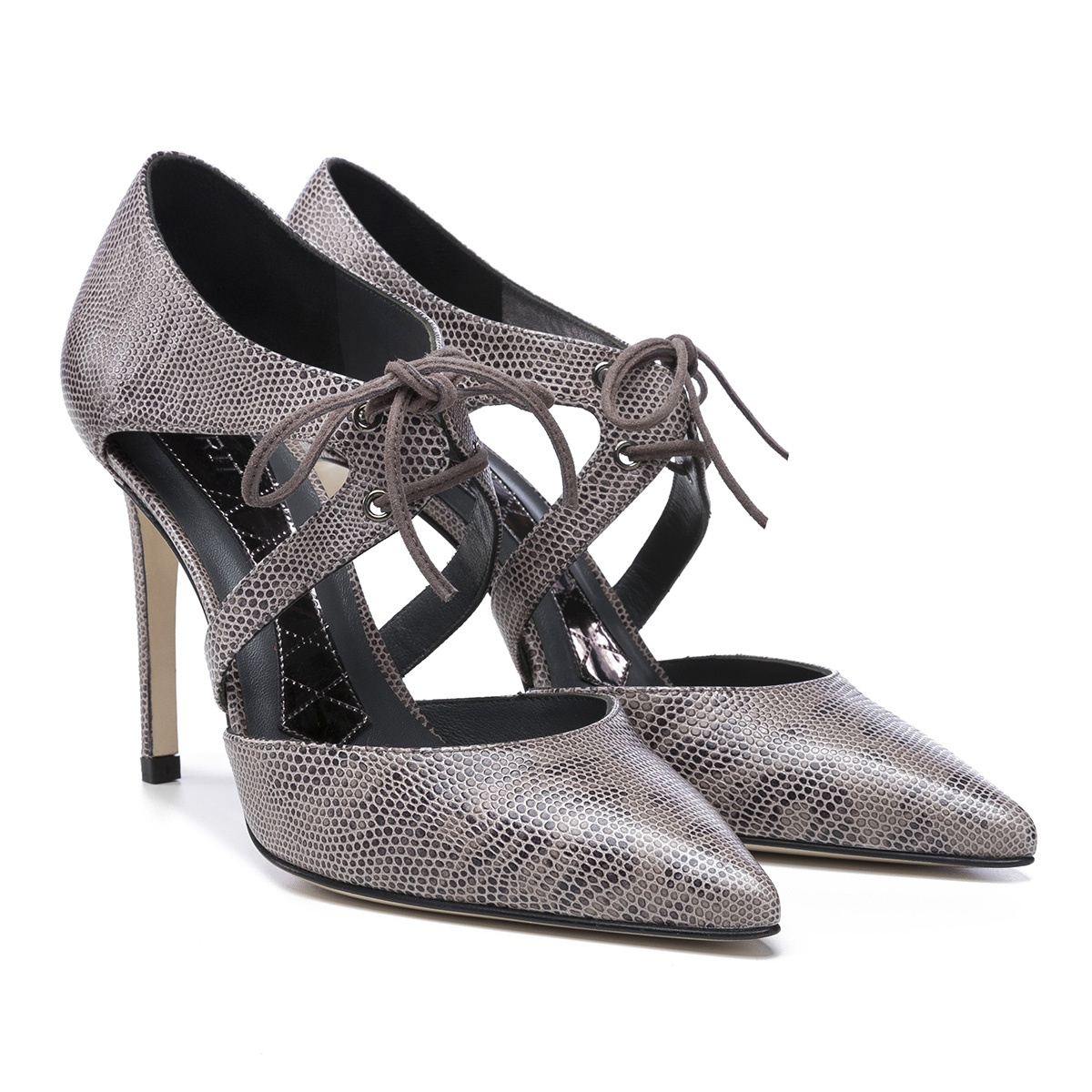 Magrit 'Marcela' taupe reptile lace-up pumps