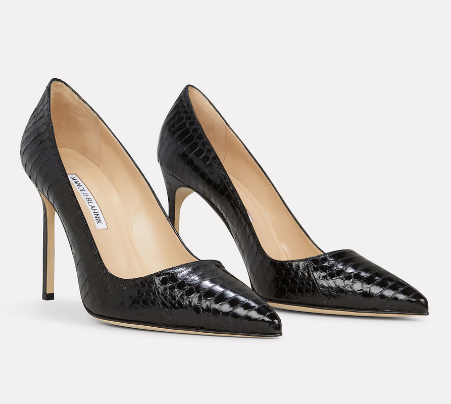 Manolo Blahnik black snake embossed pumps