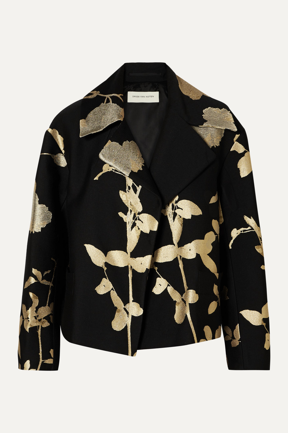 Dries Van Noten black and gold floral jacquard jacket