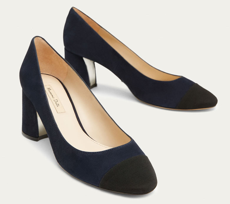 Massimo Dutti Blue Suede Court Shoes