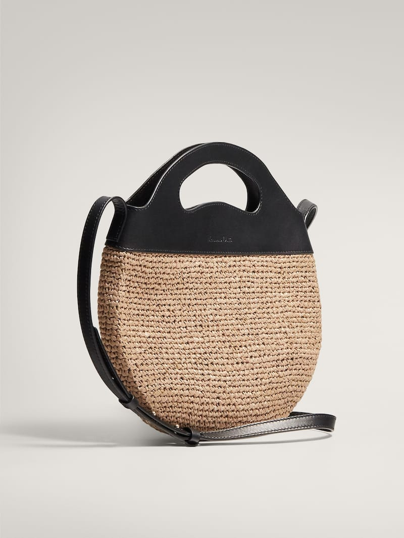 Massimo Dutti Contrast Leather Raffia Crossbody Bag
