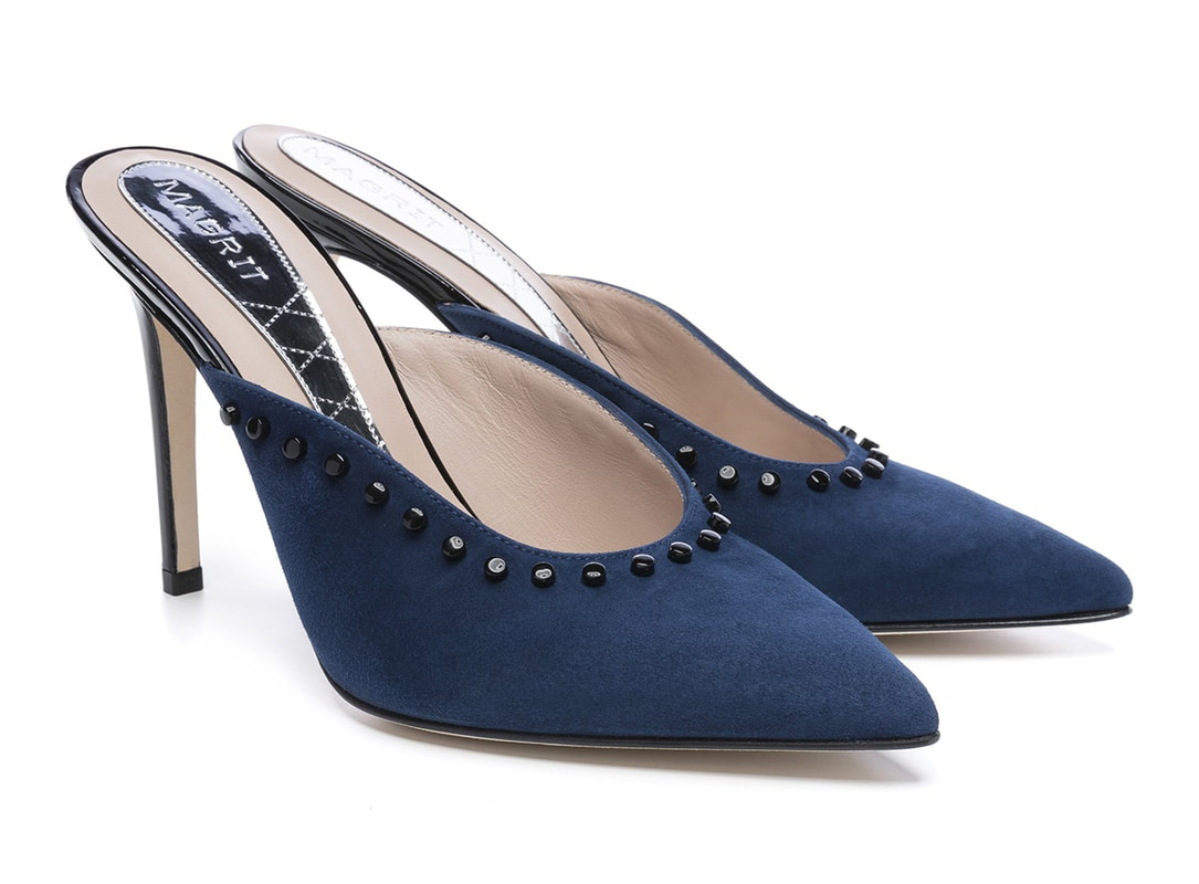 Magrit Cristina blue suede pointed-toe mules