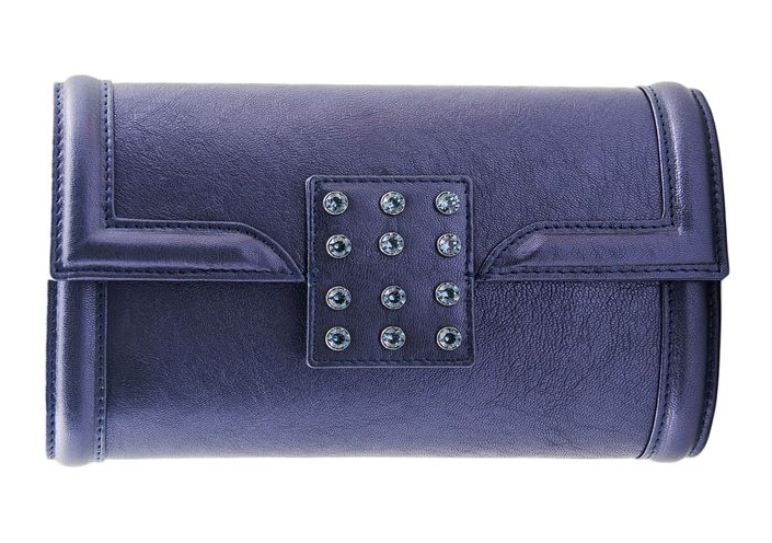 Felipe Varela blue leather clutch with Swarovski crystals