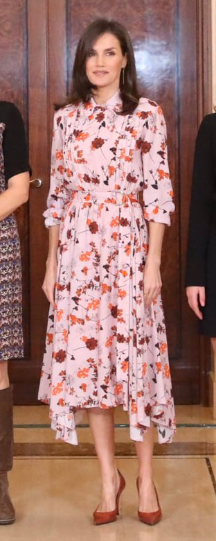 Queen Letizia wears HUGO by Hugo Boss 'Kalocca' floral print shirt dress on 21 February 2020