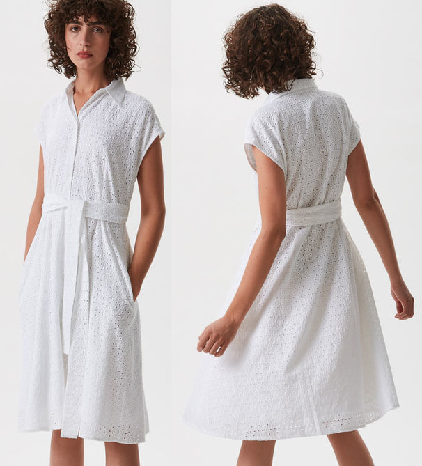 Adolfo Dominguez white embroidered cotton dress with belt