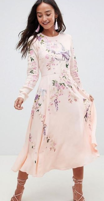 ASOS DESIGN midi dress with pretty floral and bird embroidery