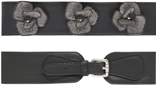 Felipe Valera 'Eclat' black leather belt with glass beaded flowers