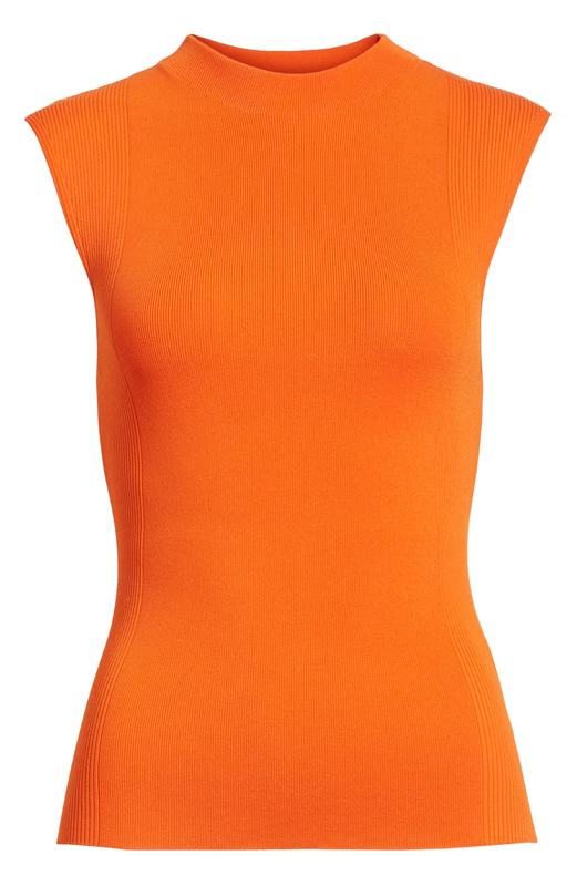 Hugo Boss BOSS Fasmine Orange Ribbed Mockneck Knit Shell Top