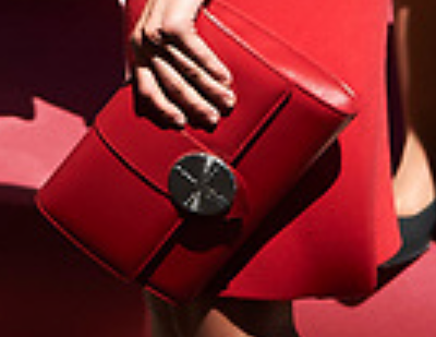 Red medallion flap clutch bag