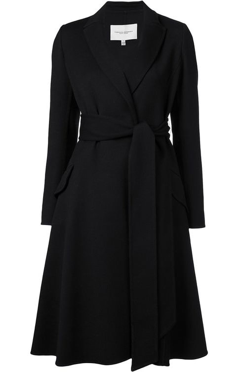 Carolina Herrera Black A-Line Belted Coat