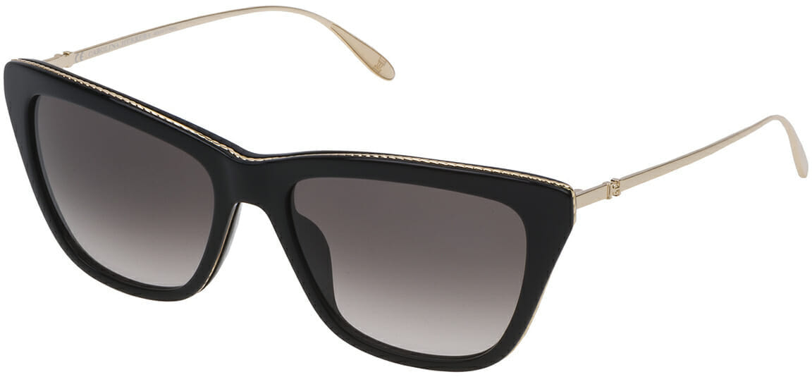 Carolina Herrera New York black cat-eye sunglasses with gold rim and arms