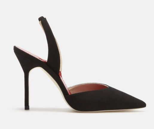 Carolina Herrera black suede slingback pumps