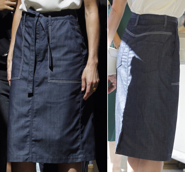 Caroline Herrera denim topstitch pockets midi pencil skirt