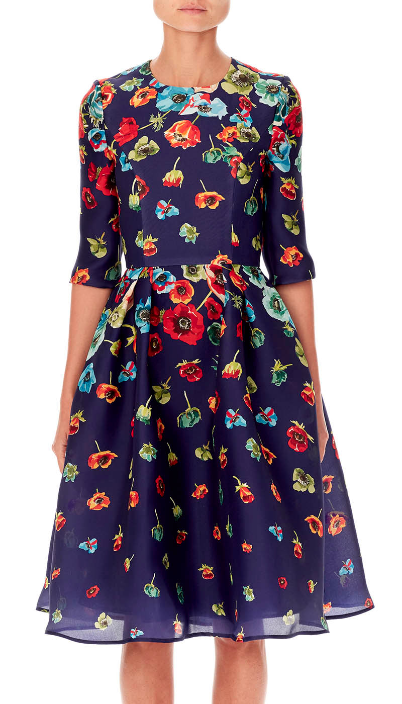 Carolina Herrera Resort 19 midnight blue floral-printed dress