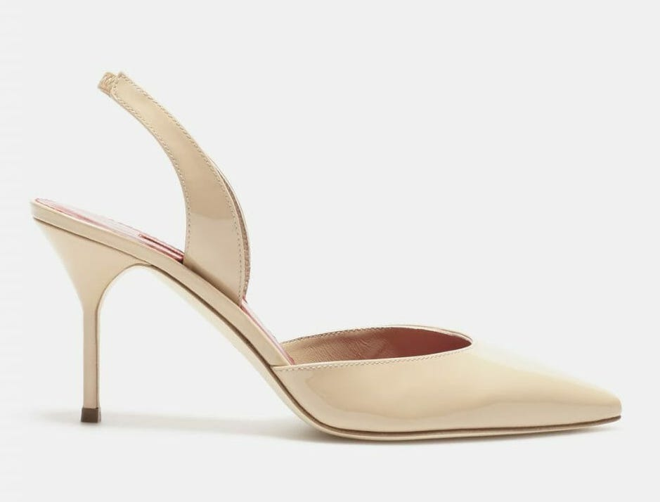 Carolina Herrera nude patent leather slingback pumps