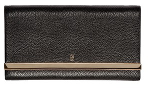 Carolina Herrera black leather metal bar flap clutch