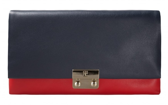CH Carolina Herrera 'Baret' navy/red clutch bag
