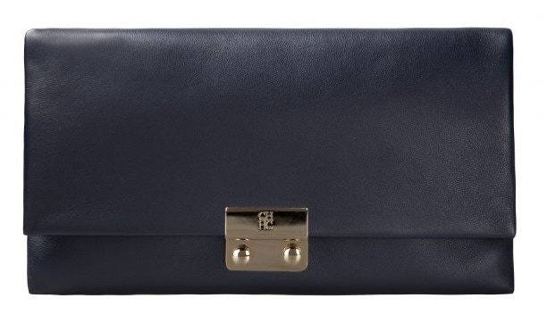 CH Carolina Herrera 'Baret' navy flap clutch bag