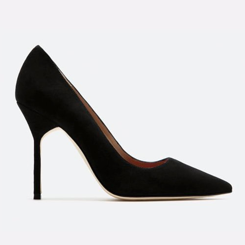 Carolina Herrera black suede pointed toe pumps