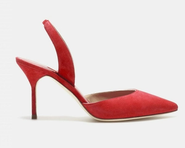 Carolina Herrera red essential slingback suede pumps
