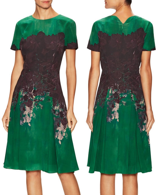 Carolina Herrera Green Silk Printed Crewneck Flared Dress