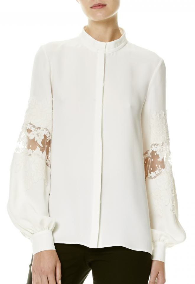 Carolina Herrera embroidered sleeve silk blouse - Spring/Summer 2017 collection