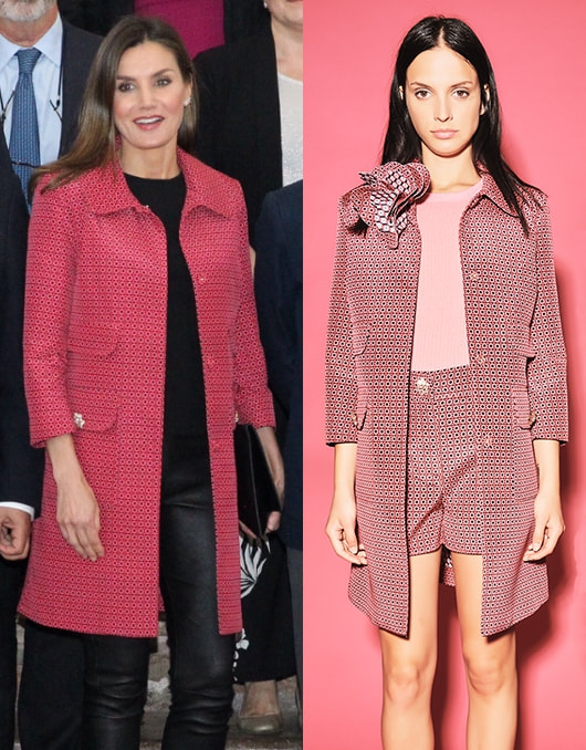 Queen Letizia wears Atos Lombardini pink patterned coat