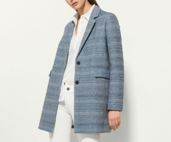 Massimo Dutti Spring/Summer 2016 Blue Textured Coat