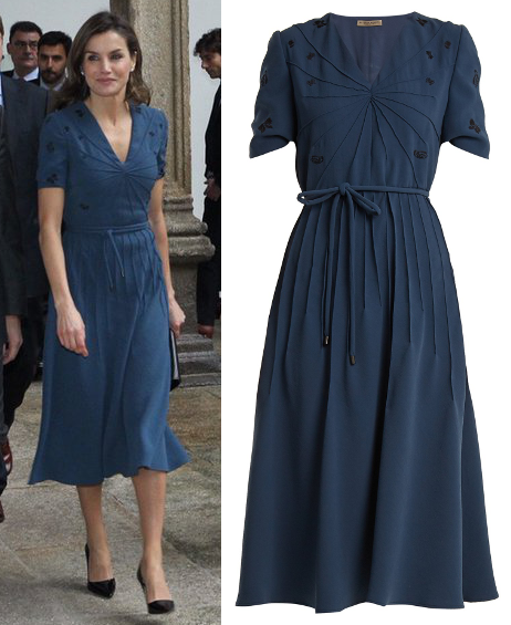 Queen Letizia wears Bottega Veneta petrol blue tea dress