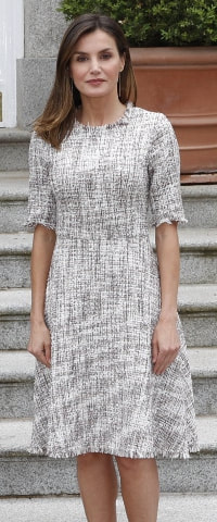 Queen Letizia wears Adolfo Dominguez Tweed Dress with French Sleeves