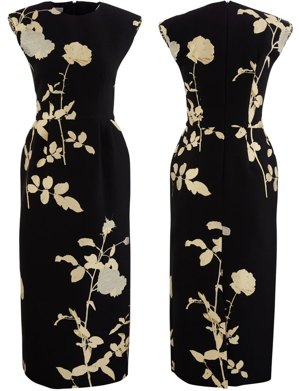 black and gold floral jacquard midi dress is from Dries Van Noten's A/W 2019-2020 collection