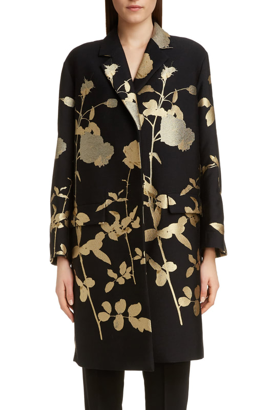 Dries Van Noten black and gold floral jacquard coat