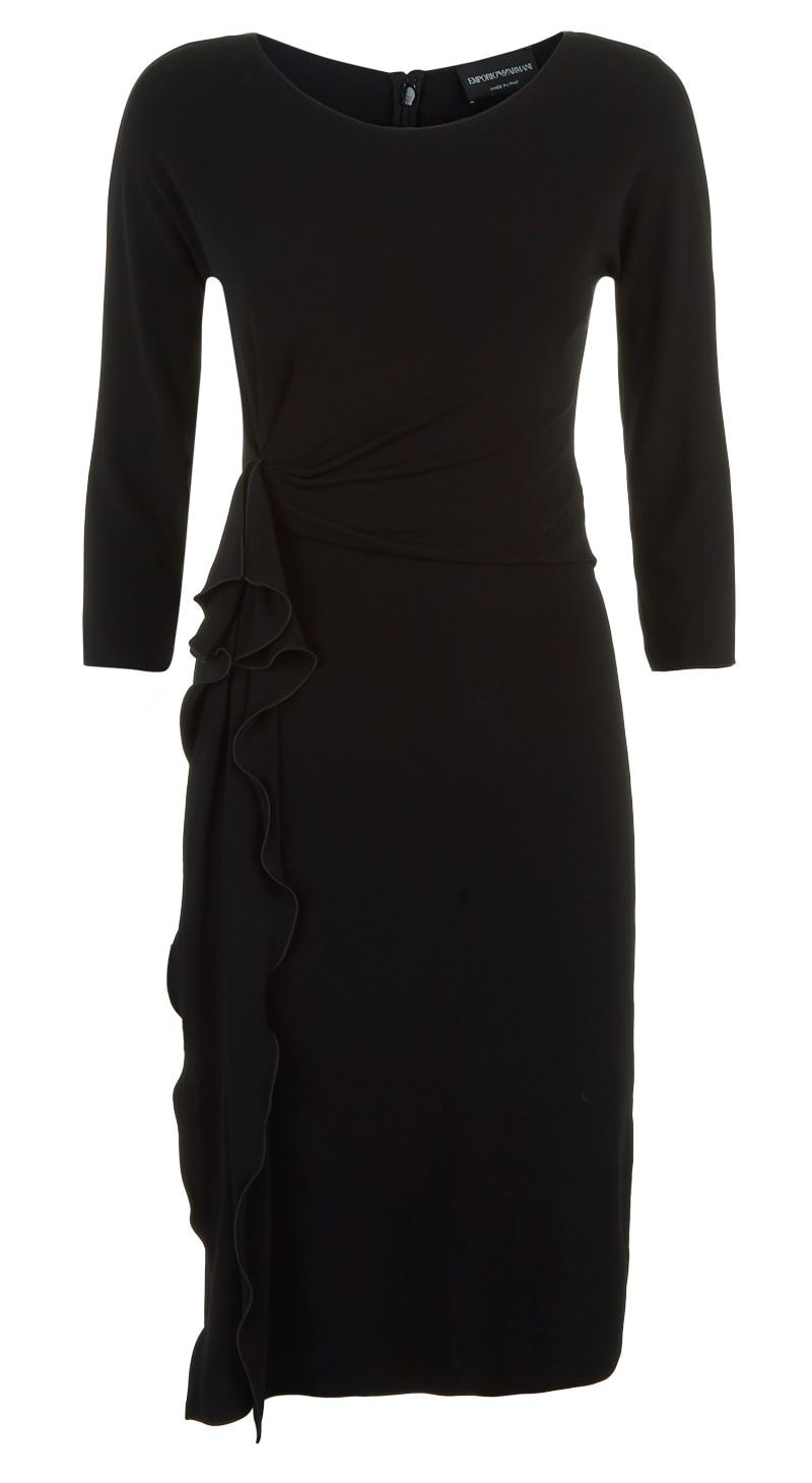 Emporio Armani Black Ruffle Side Dress