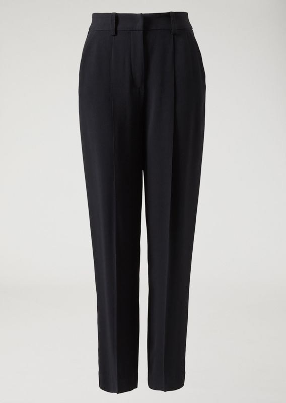 Emporio Armani black cropped cady trousers with waist dart