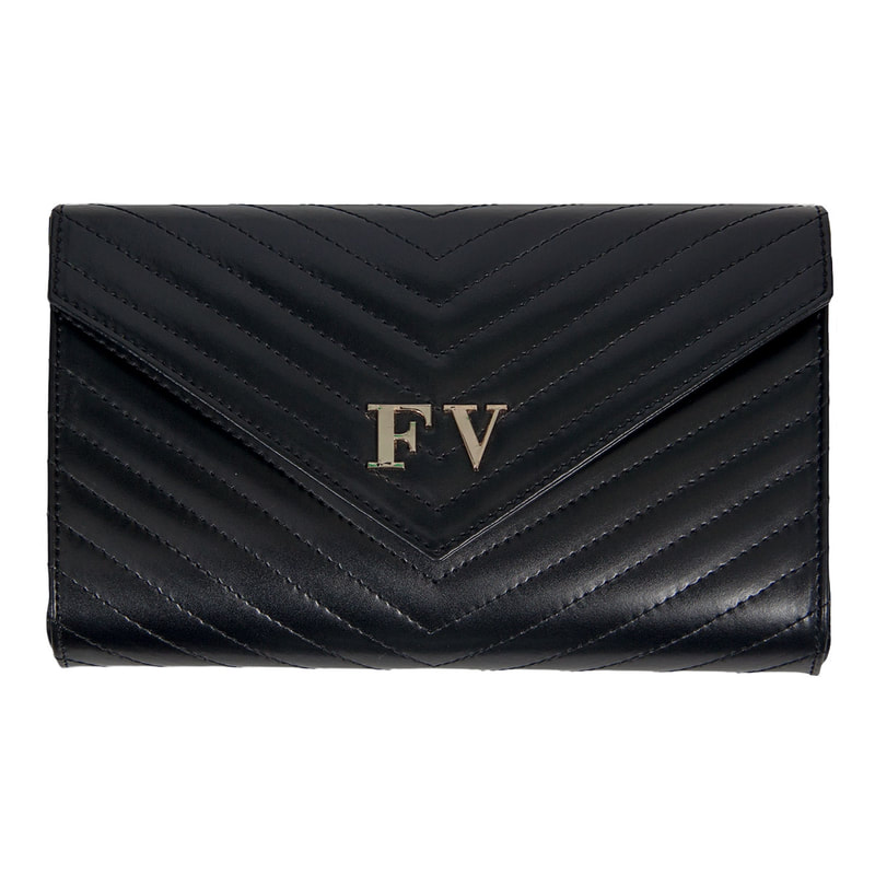 Felipe Varela black leather chevron quilted envelope clutch