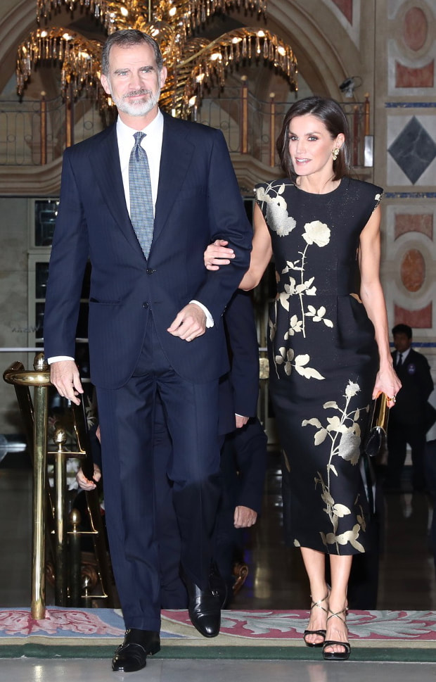 King Felipe and Queen Letizia arrive at Hotel Palace in Madrid for 'Francisco Cerecedo' Journalism Prize 2019