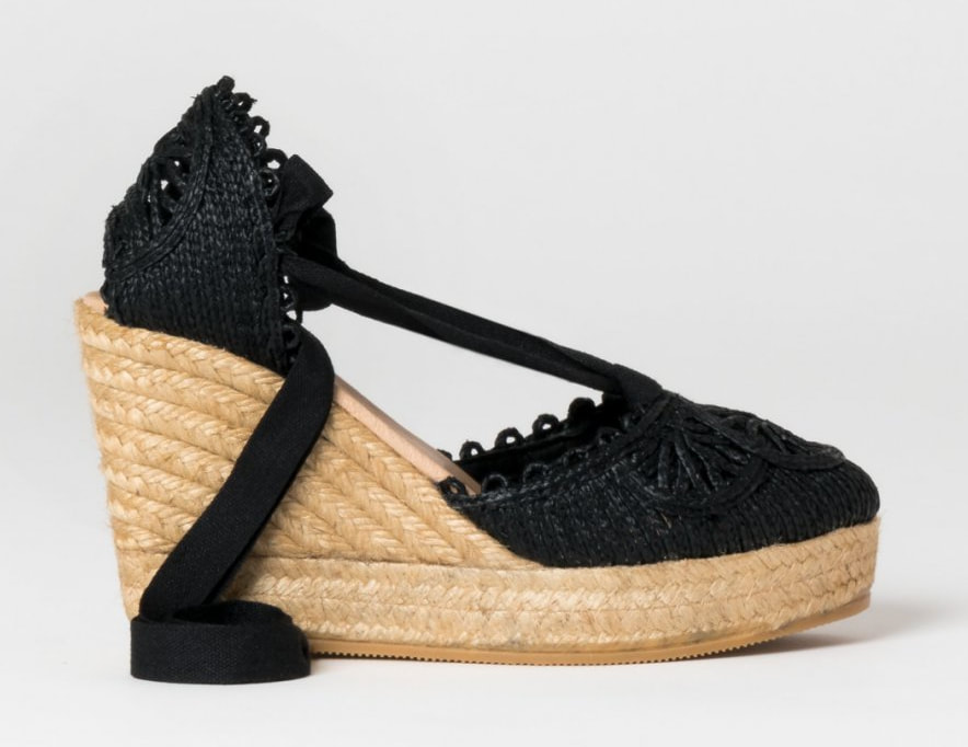 Gaimo Argo black embroidered tie-up espadrilles