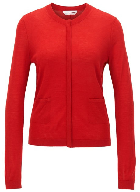 Hugo Boss BOSS 'Fuyuma' Red Virgin Wool Cardigan
