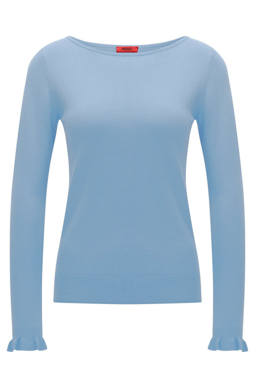Hugo Boss Cornflower blue crew neck sweater with frill cuffs