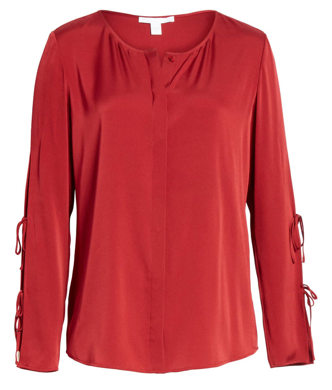 Hugo Boss Dark Red Burana Split-Sleeve Blouse