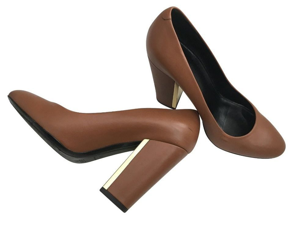 Hugo Boss camel block-heel pumps